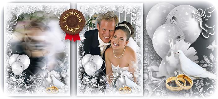 Свадебная рамка с голубями - Белоснежная