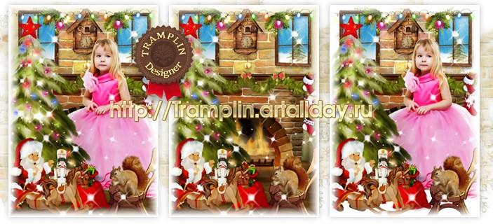 Новогодний детский коллаж для фото Дед Мороз стучится в дом